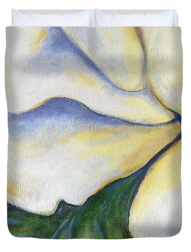 White Rose Duvet Cover featuring the painting White Rose Two Panel Three Of Four by Linda Mears