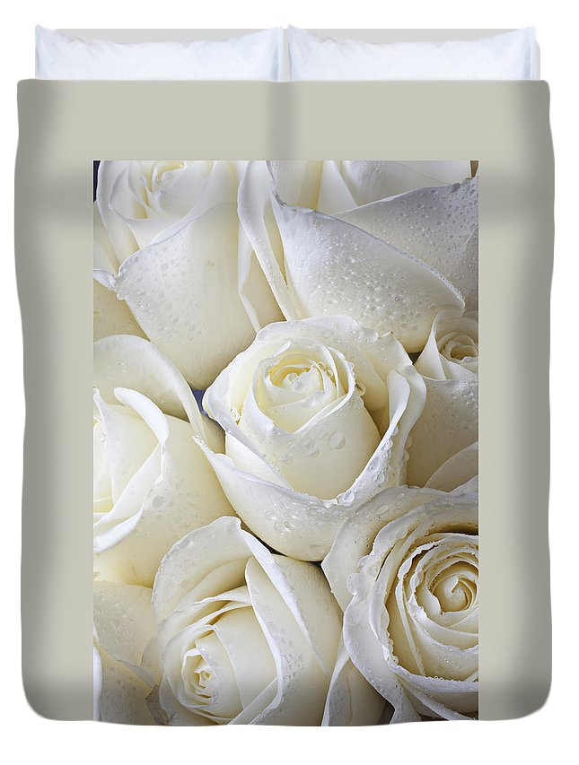 Rose White Roses Duvet Cover featuring the photograph White Roses by Garry Gay