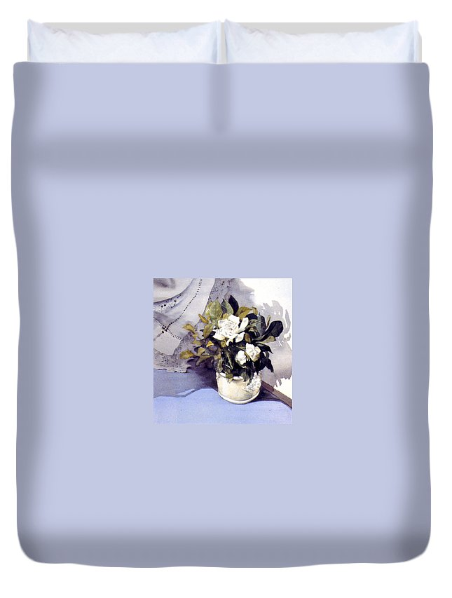 Julia Rowntree Duvet Cover featuring the photograph White Roses by Julia Rowntree