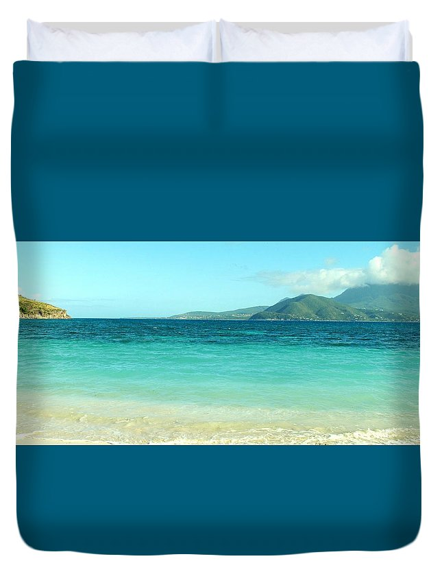 St Kitts Duvet Cover featuring the photograph White Sand Blue Sky Blue Water by Ian MacDonald