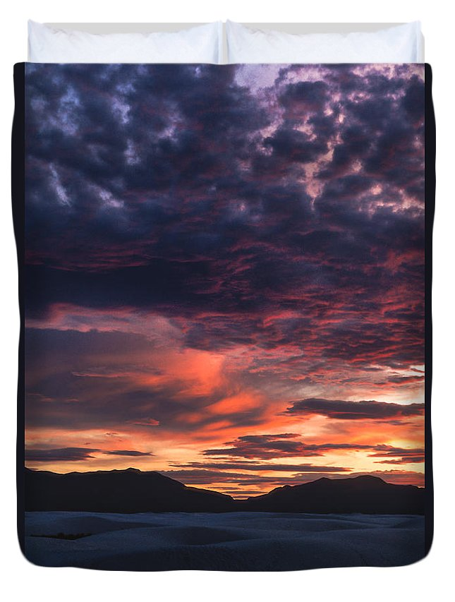 White Sands Duvet Cover featuring the photograph White Sands Sunset by Sandra Bronstein