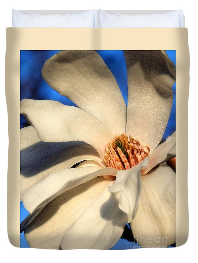 White Duvet Cover featuring the photograph White Saucer Magnolia by Sharon Woerner