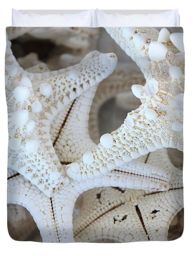 White Duvet Cover featuring the photograph White Starfish by Carol Groenen