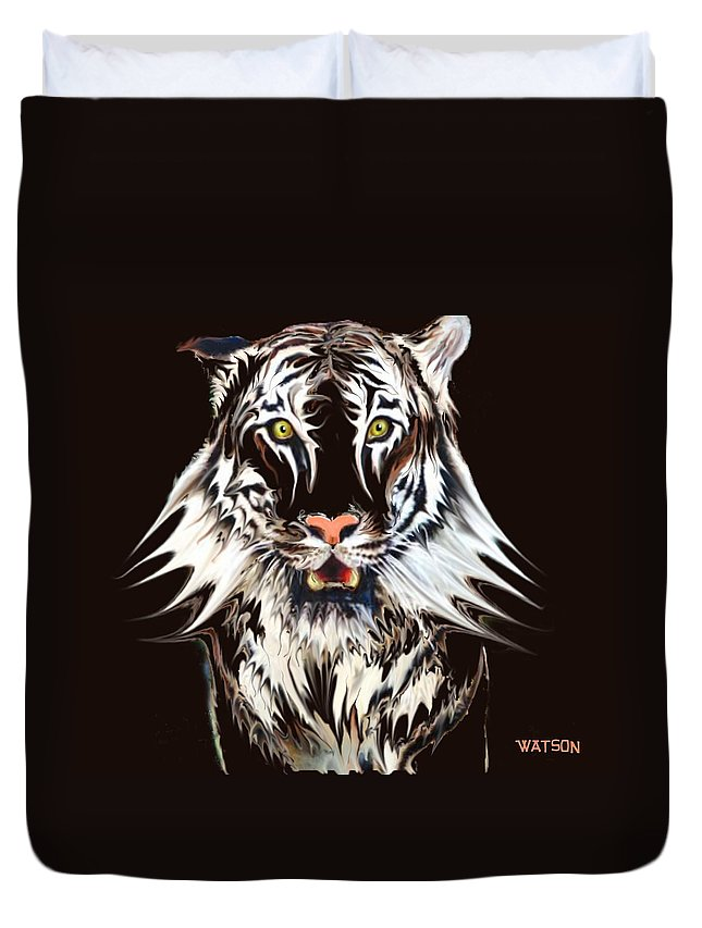 Illustration Duvet Cover featuring the digital art White Tiger 1 by Marlene Watson