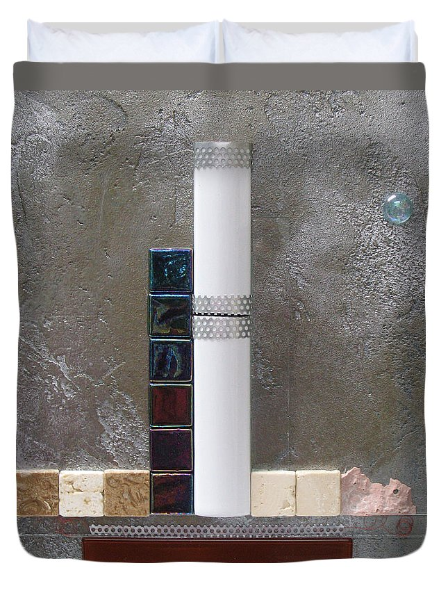 Assemblage Duvet Cover featuring the relief White Tower by Elaine Booth-Kallweit