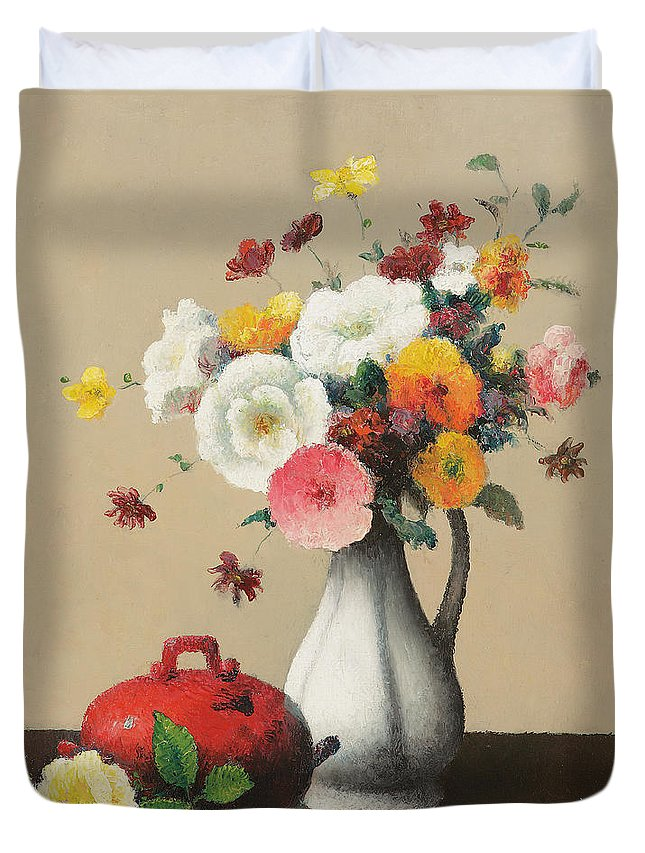 White Duvet Cover featuring the painting White Vase And Red Box by Felix Elie Tobeen