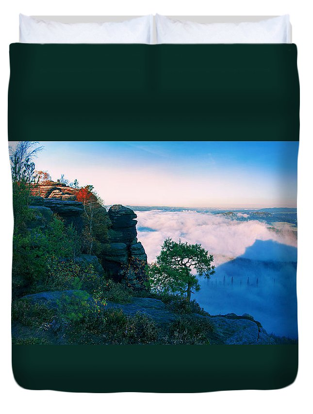Germany Duvet Cover featuring the photograph White Wafts Of Mist Around The Lilienstein by Sun Travels