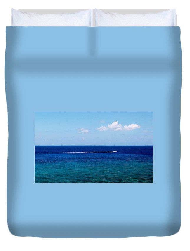 Minimalism Duvet Cover featuring the photograph White Wake by Amar Sheow