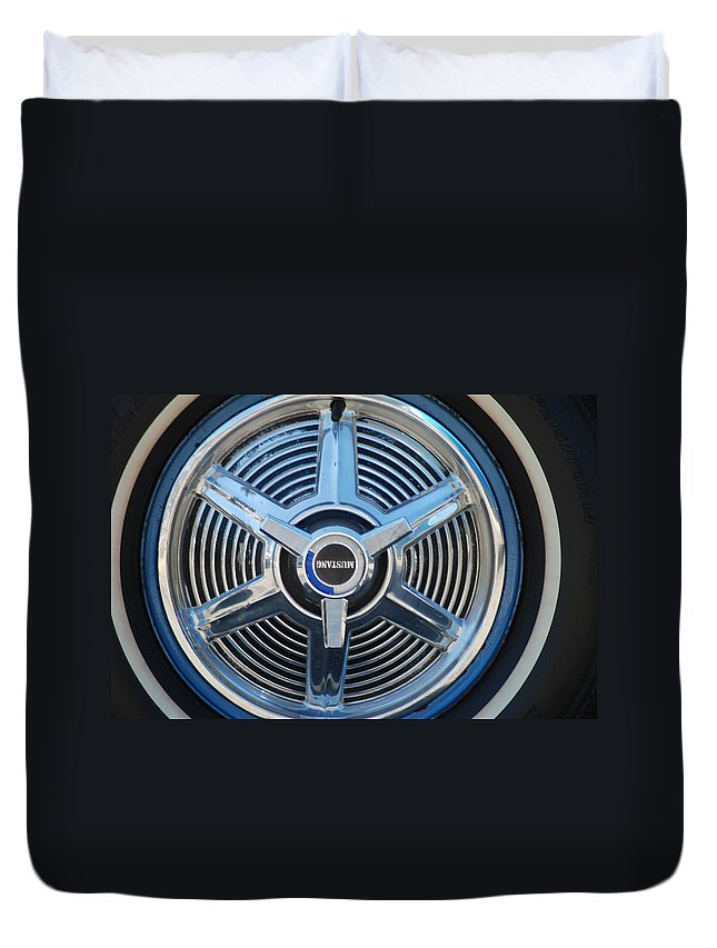 Classic Cars Duvet Cover featuring the photograph White Wall And Chrome Wheels by Optical Playground By MP Ray