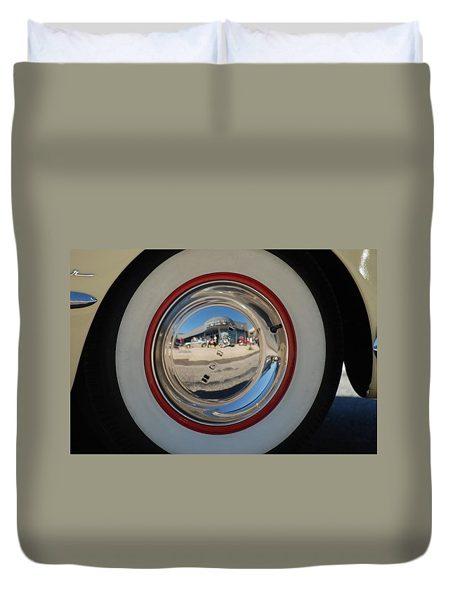 Classic Cars Duvet Cover featuring the photograph White Walls On A 49' Buick by Optical Playground By MP Ray