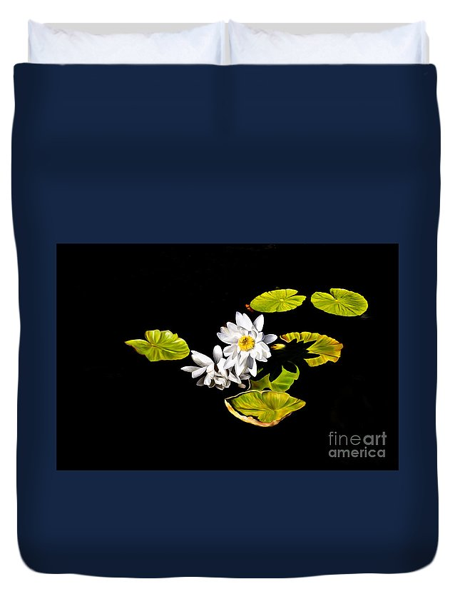 Lily Duvet Cover featuring the digital art White Water Lilies by Frances Hattier