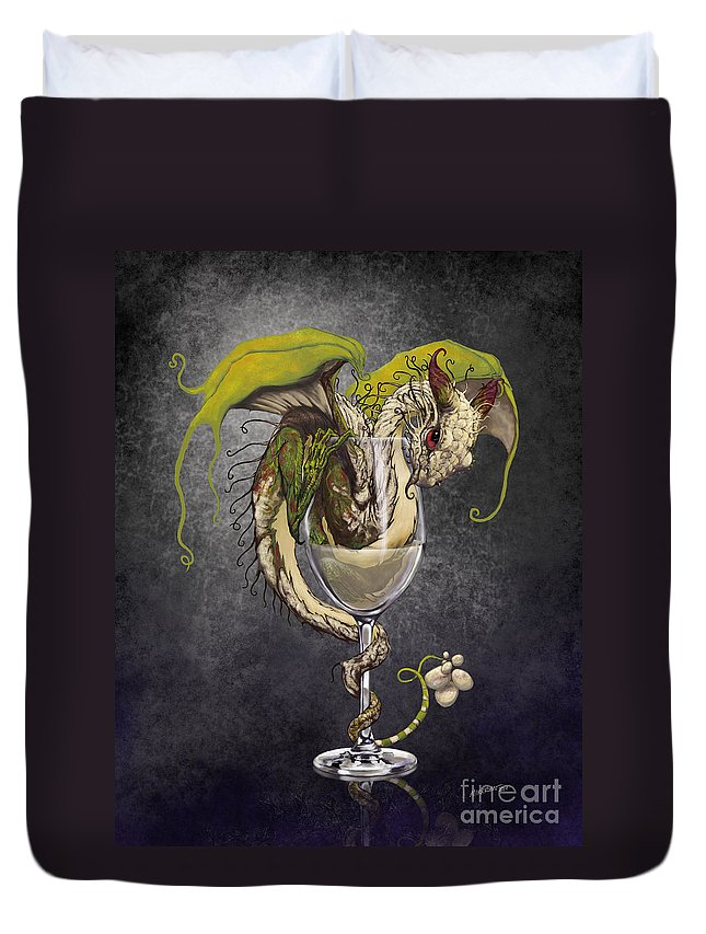 Dragon Duvet Cover featuring the digital art White Wine Dragon by Stanley Morrison