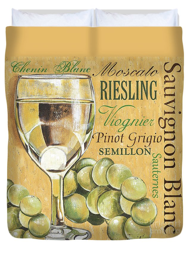 Wine Duvet Cover featuring the painting White Wine Text by Debbie DeWitt