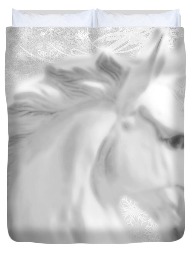 Statue Duvet Cover featuring the painting White Winter Horse 1 by Tony Rubino