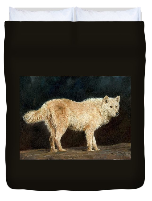 Animals Duvet Cover featuring the painting White Wolf by David Stribbling