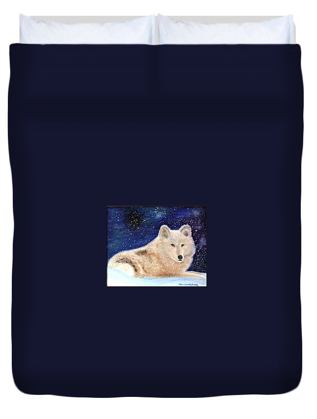 Wolf Duvet Cover featuring the painting White Wolf In Winter Blizzard by Lora Duguay