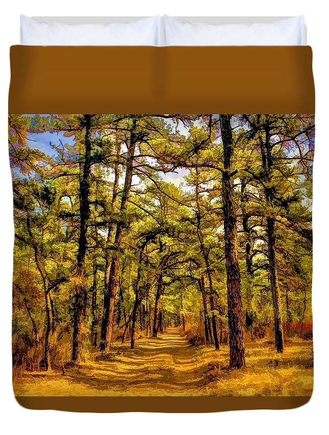 Recent Duvet Cover featuring the photograph Whitebog Village Woods In New Jersey by Geraldine Scull