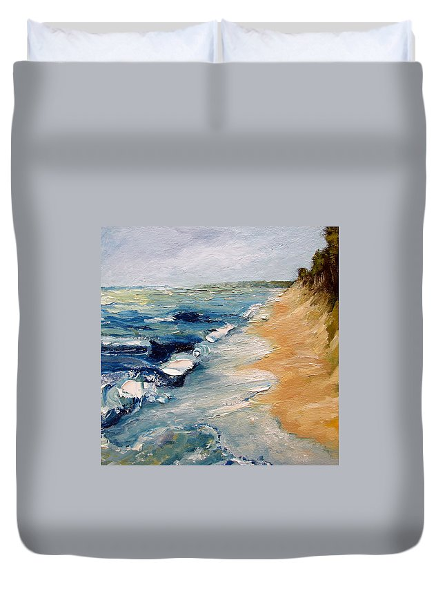 Whitecaps Duvet Cover featuring the painting Whitecaps On Lake Michigan 3.0 by Michelle Calkins