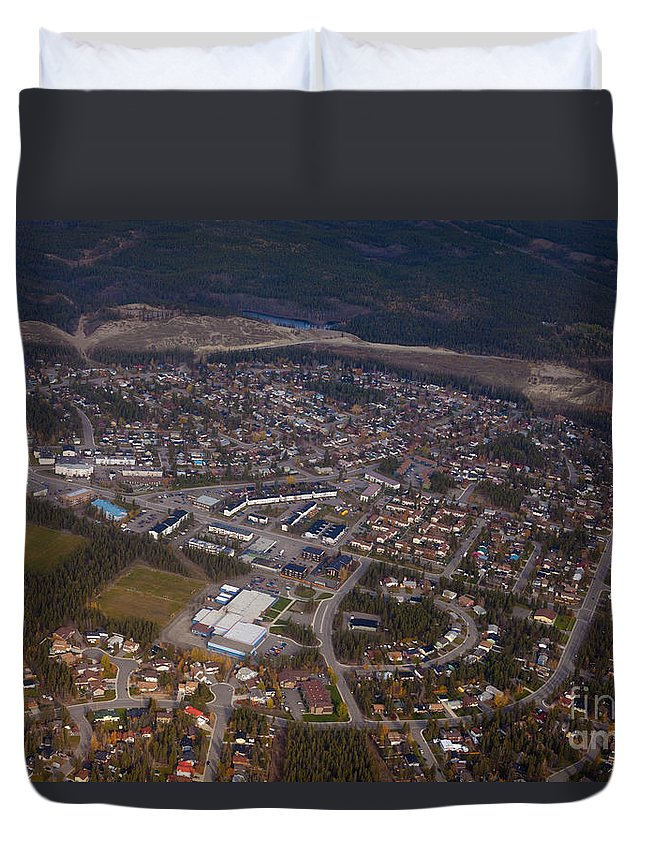 Aerial Duvet Cover featuring the photograph Whitehorse Riverdale Yukon Territory Canada by Stephan Pietzko