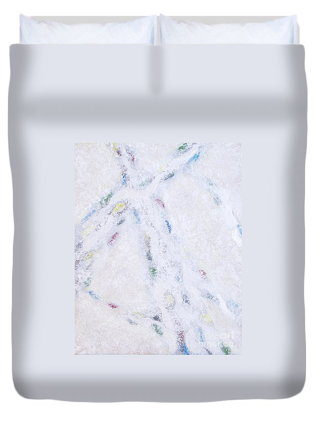 Abstract Duvet Cover featuring the painting Whiteout by Cindy Lee Longhini