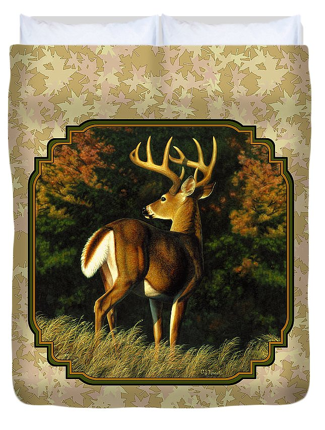 Whitetail Buck Autumn Leaves Pillow Duvet Cover For Sale