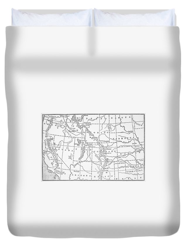1843 Duvet Cover featuring the drawing Whitman's Route by Granger