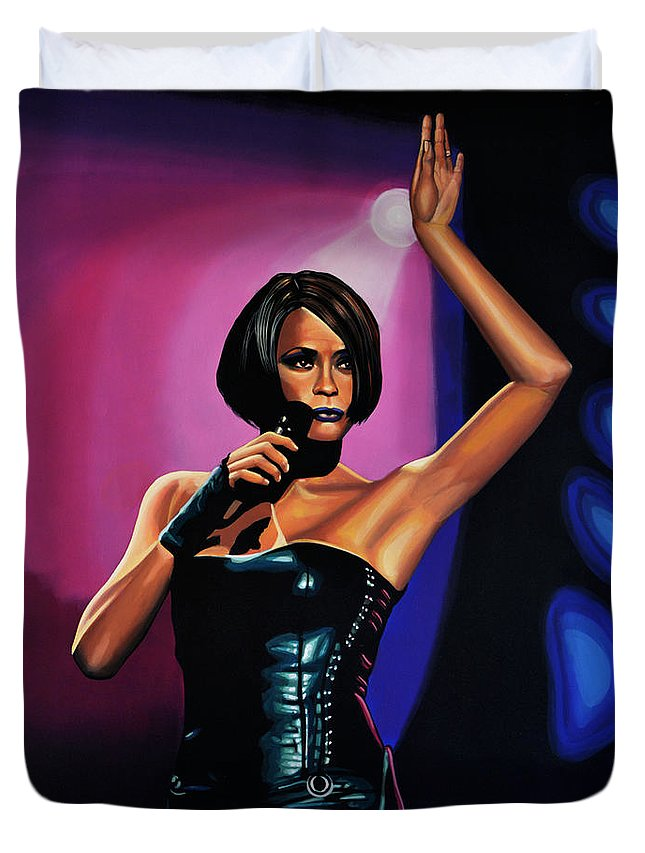 Whitney Houston Duvet Cover featuring the painting Whitney Houston On Stage by Paul Meijering