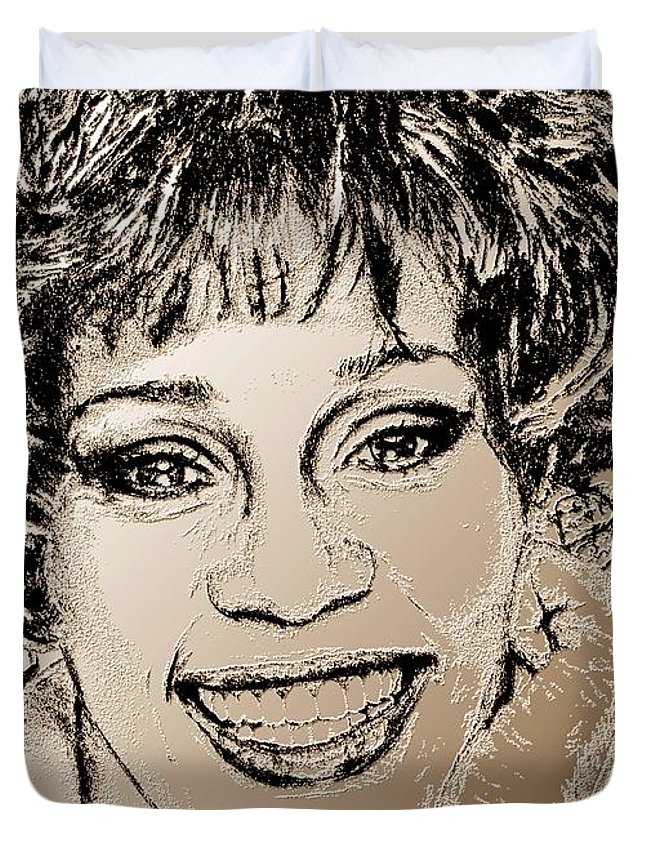 Whitney Duvet Cover featuring the digital art Whitney Houston In 1992 by J McCombie