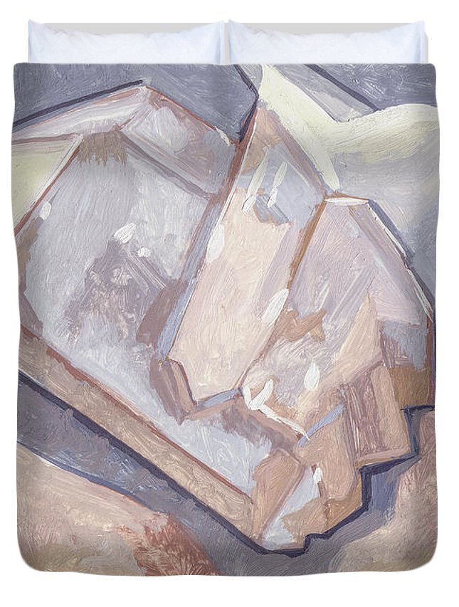 Stone Duvet Cover featuring the painting Who Is On Top Who Is On Base by Richard Glen Smith