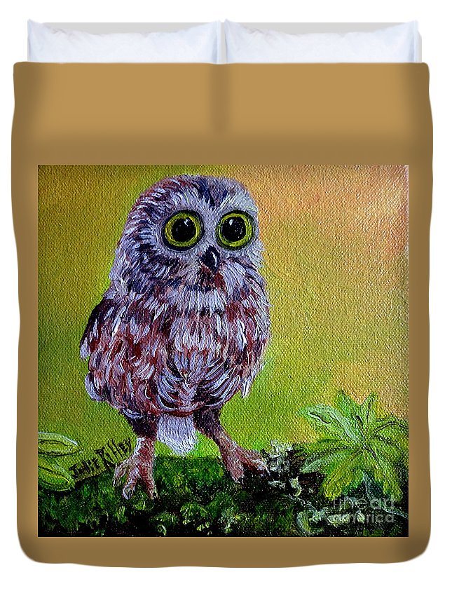 Owl Duvet Cover featuring the painting Who Me? by Julie Brugh Riffey