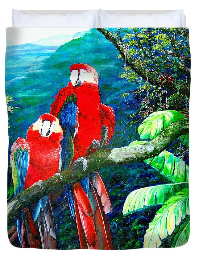 Caribbean Painting Green Wing Macaws Red Mountains Birds Trinidad And Tobago Birds Parrots Macaw Paintings Greeting Card  Duvet Cover featuring the painting Who Me  by Karin Dawn Kelshall- Best