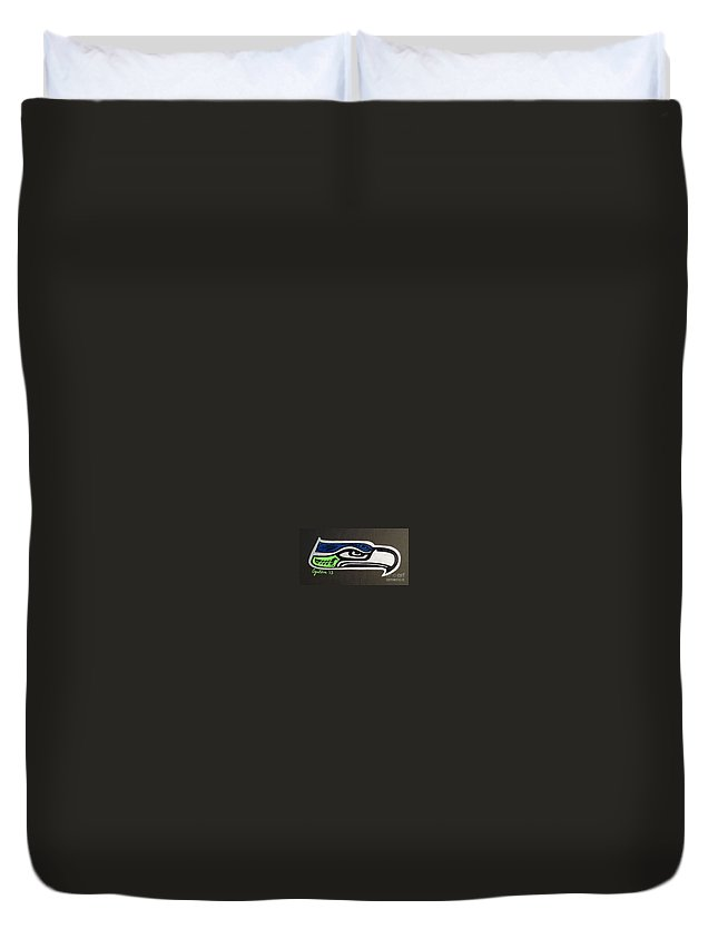 Seattle Seahawks Duvet Cover featuring the painting Who Ready by A Cyaltsa Finkbonner