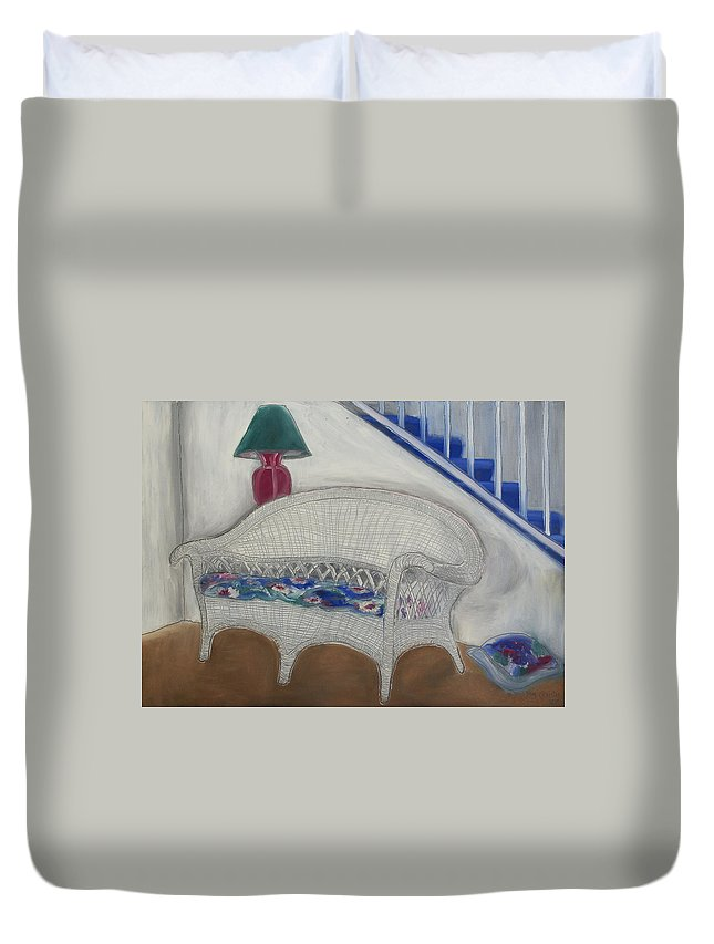 Furniture Duvet Cover featuring the painting Wicker Couch by Daniel P Cronin