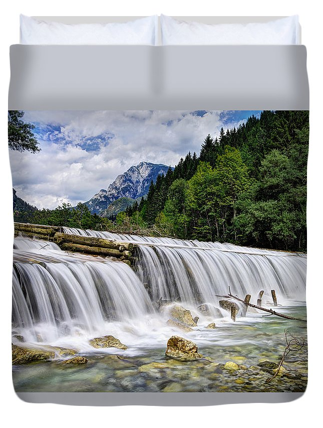 Adventure Duvet Cover featuring the photograph Wide Waterfall by Ivan Slosar