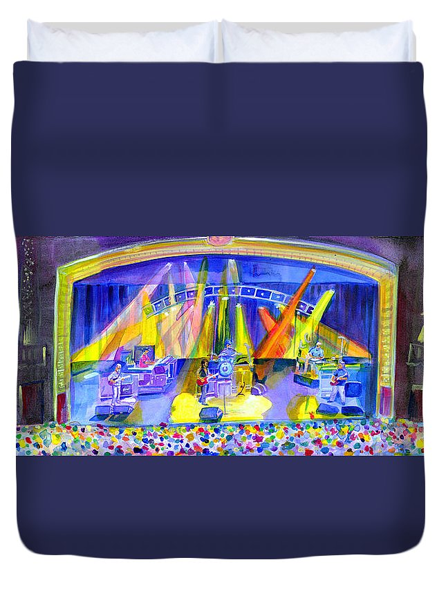 Widespread Panic Duvet Cover featuring the painting Widespread Panic Peabody Opera House by David Sockrider