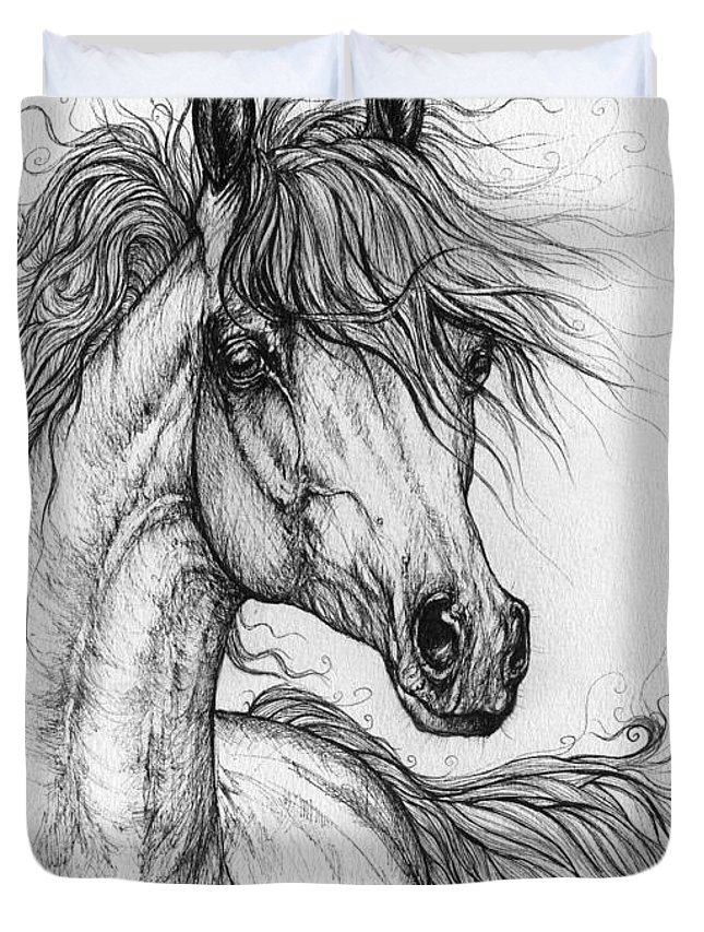 Horse Duvet Cover featuring the drawing Wieza Wiatrow Polish Arabian Mare Drawing 1 by Angel Ciesniarska
