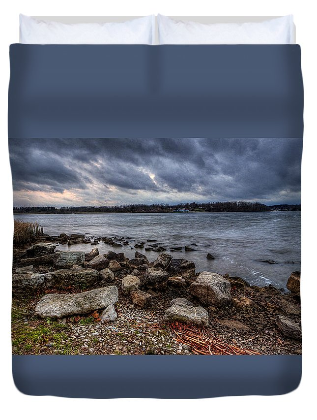 Sunset Duvet Cover featuring the photograph Wild Clouds On The Lake by David Dufresne