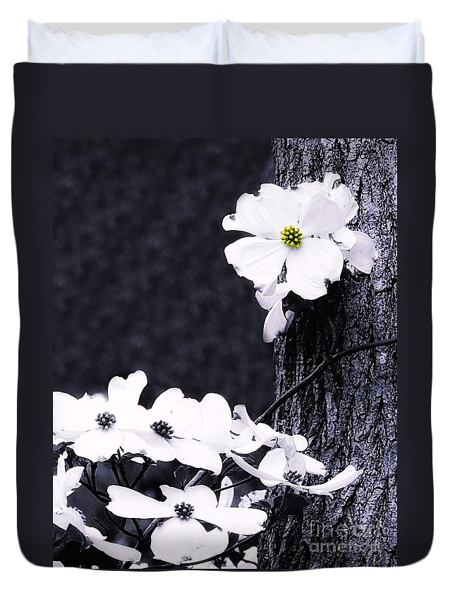 Wild Duvet Cover featuring the photograph Wild Dogwood Blooms by Sharon Woerner