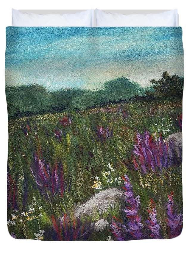 Calm Duvet Cover featuring the painting Wild Flower Field by Anastasiya Malakhova