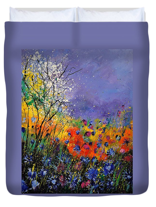 Landscape Duvet Cover featuring the painting Wild Flowers 4110 by Pol Ledent