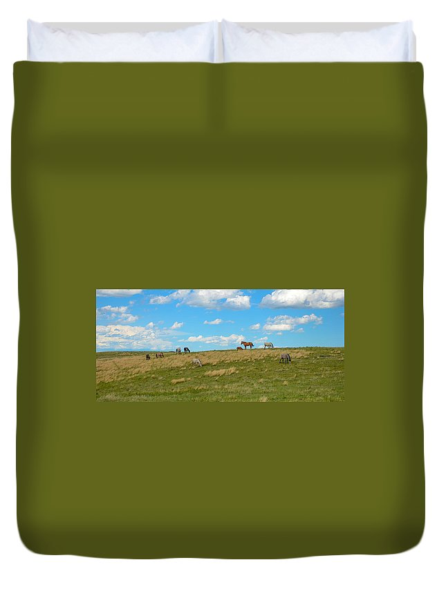 Horses Duvet Cover featuring the photograph Wild Horses by Gales Of November
