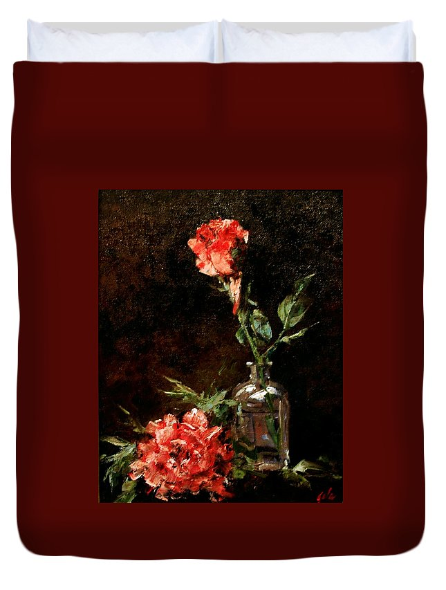 Floral Duvet Cover featuring the painting Wild Irish by Jim Gola