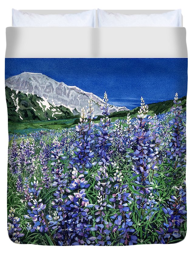 Summer Landscape Duvet Cover featuring the painting Wild Lupine by Barbara Jewell