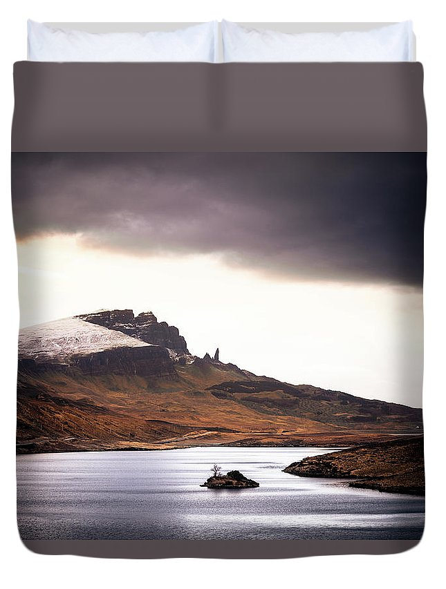 Water's Edge Duvet Cover featuring the photograph Wild Nature Landscape In Scotland, Isle by Zodebala