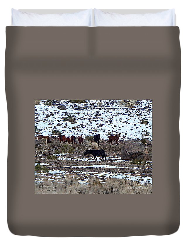Acrylic Prints Duvet Cover featuring the photograph Wild Nevada Mustangs by Bobbee Rickard