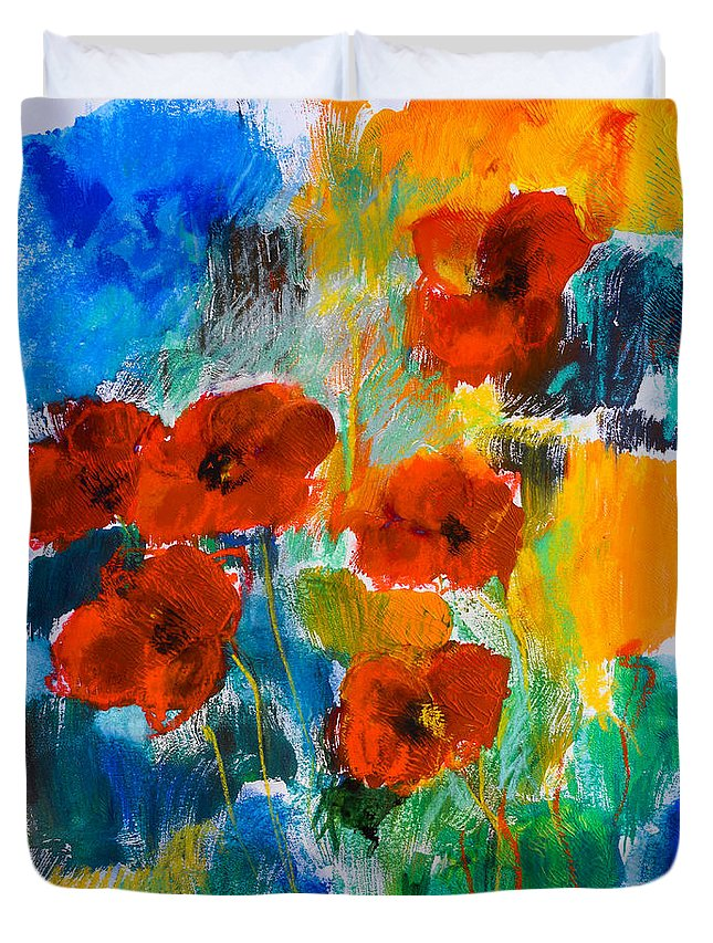 Poppy Flower Red Duvet Cover featuring the painting Wild Poppies by Elise Palmigiani