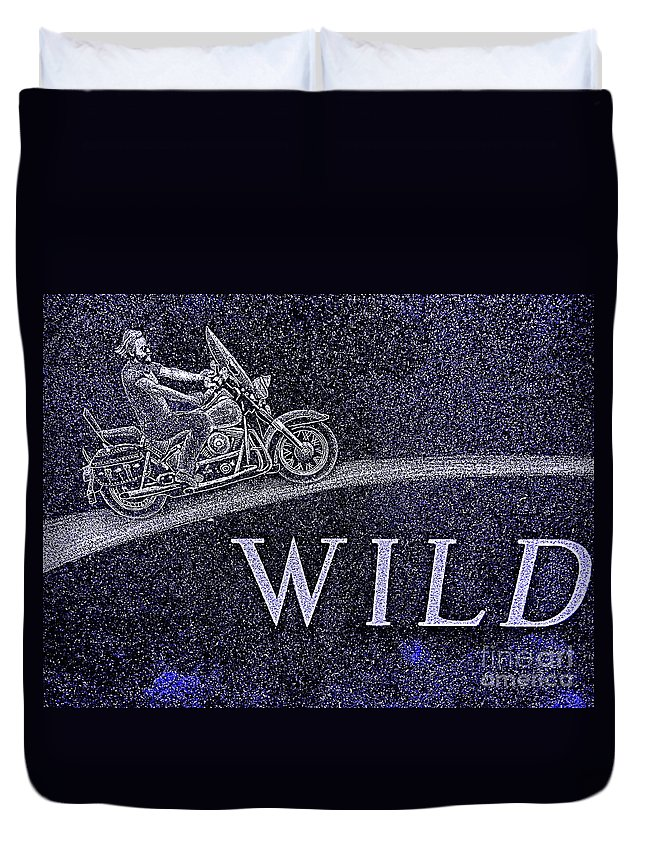 Motorcycle Duvet Cover featuring the photograph Wild Ride by Ed Weidman