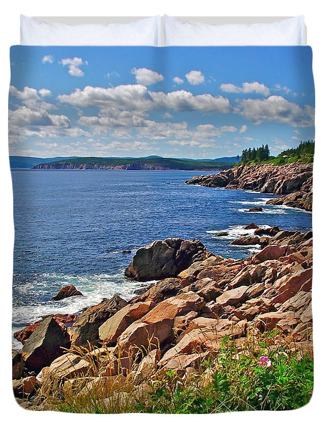 Wild Roses At Lakies Head In Cape Breton Highlands Np Duvet Cover featuring the photograph Wild Roses At Lakies Head In Cape Breton Highlands Np-ns by Ruth Hager