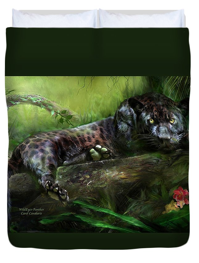 Panther Duvet Cover featuring the mixed media Wildeyes - Panther by Carol Cavalaris
