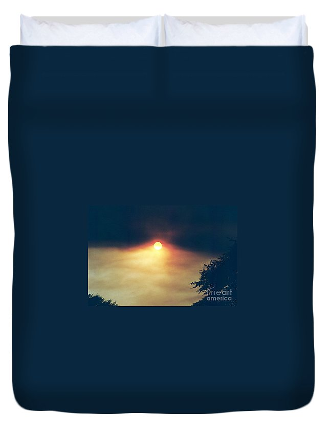 Wildfire Duvet Cover featuring the photograph Wildfire Smoky Sky by Kerri Mortenson